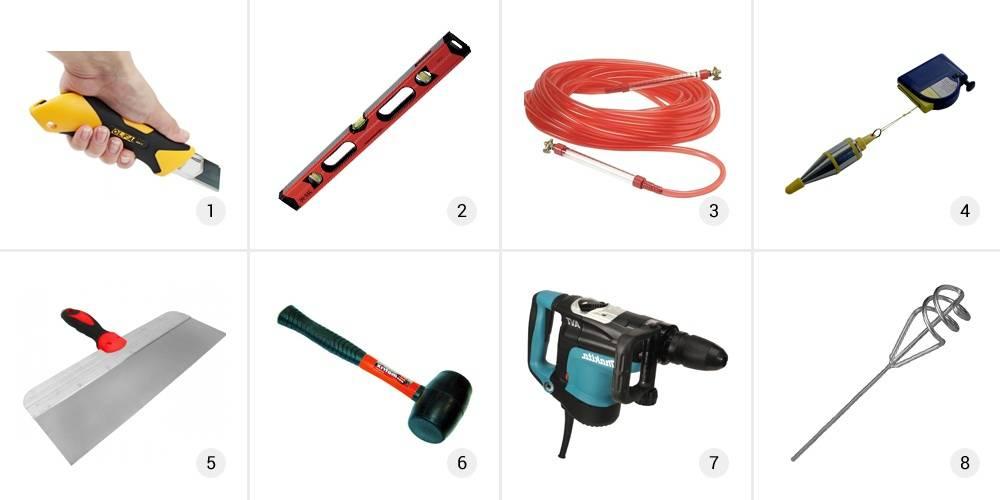 Инструменты для выравнивания стен гипсокартоном