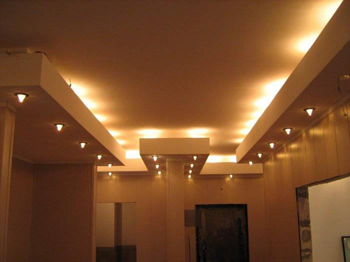 Потолок с пдсветкой из гипсокартона