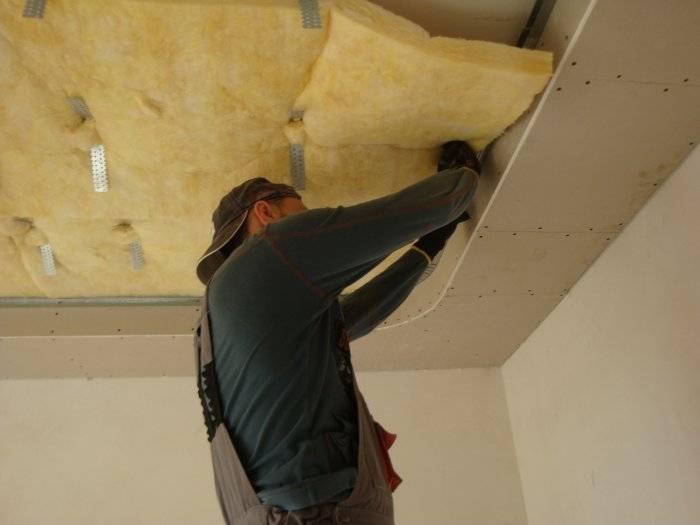 Установка шумоизоляции потолка