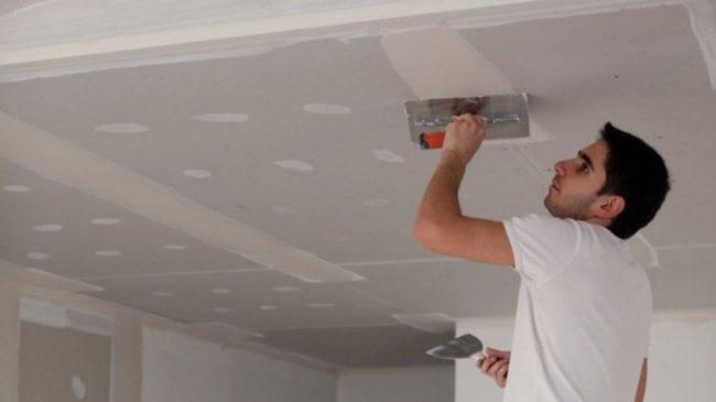 Заделка швов на потолке из гипсокартона