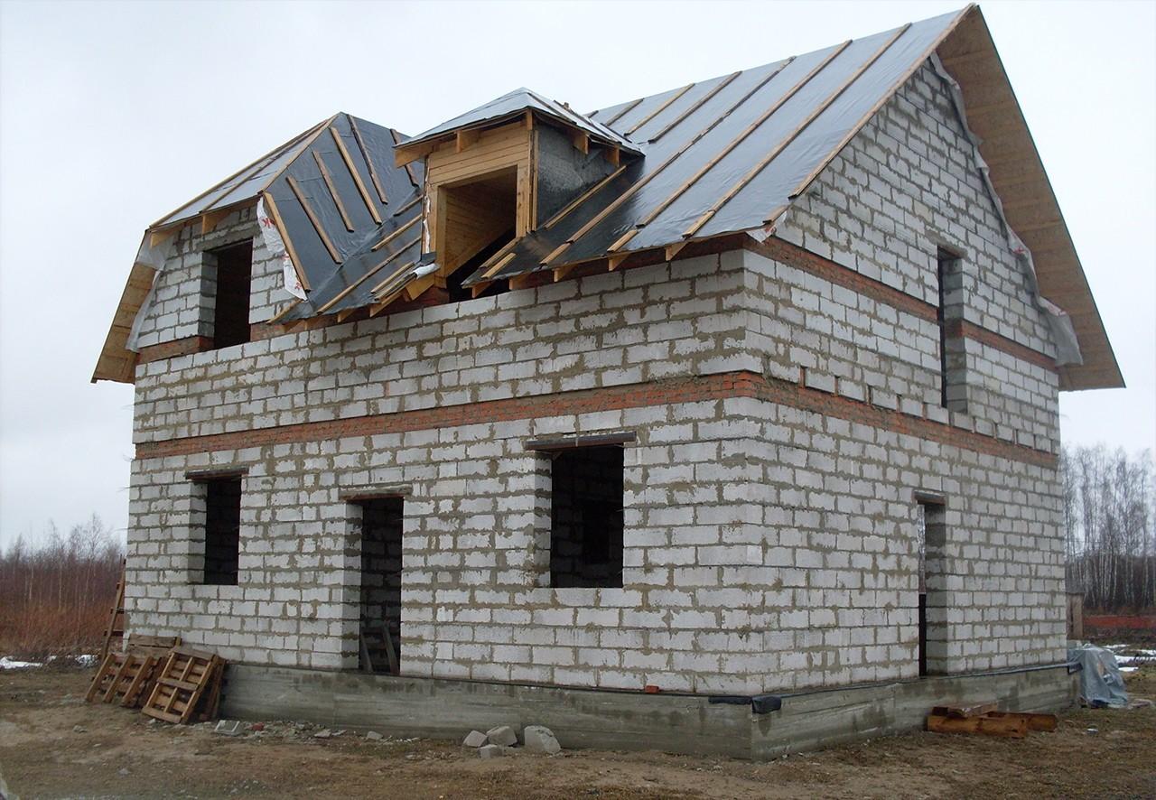 Пошаговое строительство домов из пеноблоков фото