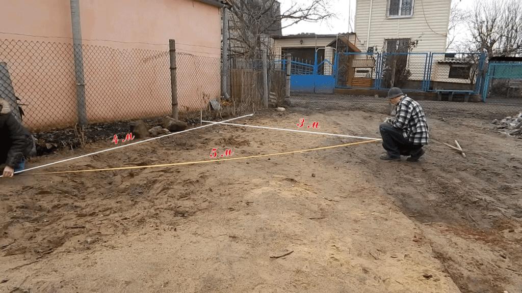 Разметка фундамента под гараж