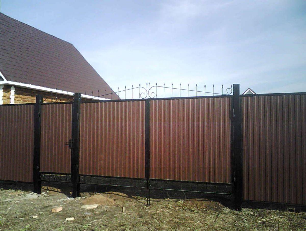 Ворота для забора из профнастила своими руками фото 698